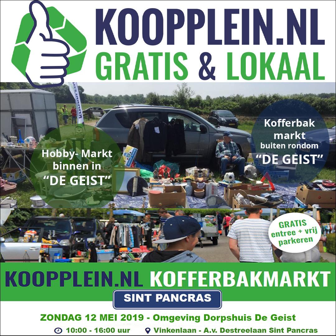 Hier zie je de lokaties waar Koopplein.nl Kofferbakmarkten worden gehouden in 2019